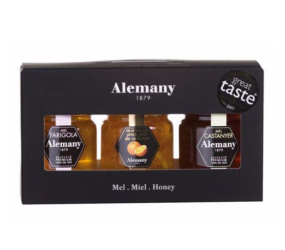 ALEMANY Miel Estuche Premium 3x50g (Tomillo, Miel con piel de naranja, Castaño)