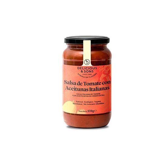DELICIOUS & SONS Salsa de Tomate con Aceitunas Italianas Ecológica 530g