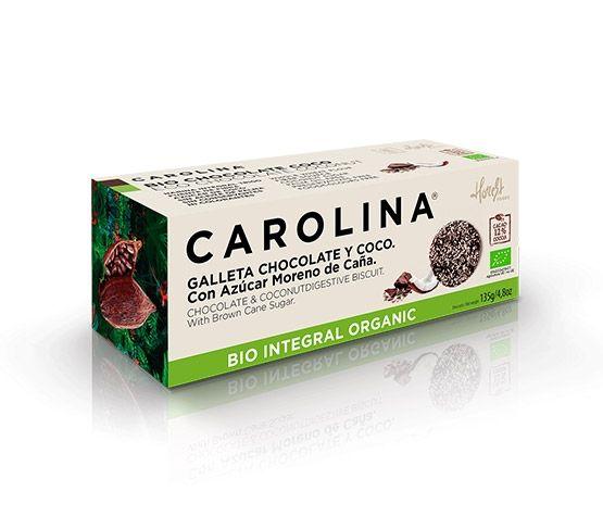 CAROLINA HONEST Galleta Bio Digestive Integral Con Chocolate y Coco 135g