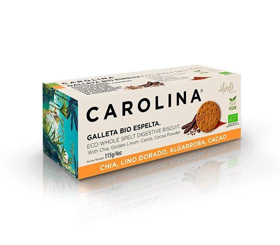 CAROLINA HONEST Galleta Bio Digestive Espelta Integral Con Algarroba, Chia, Lino Dorado y Cacao 115g