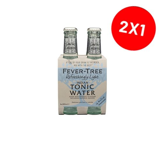 2 Packs FEVER-TREE Refreshingly Light Indian Tonic Water pack 4 x 200ml