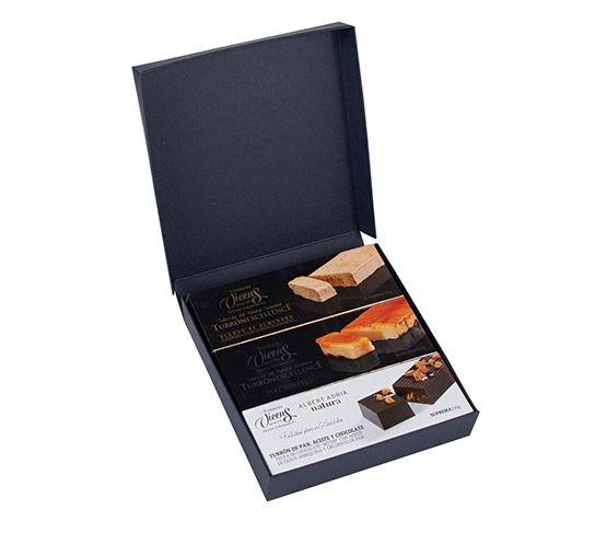 TORRONS VICENS Estuche de 3 Turrones - Pan y Chocolate, Blando y Yema