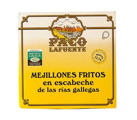 PACO LAFUENTE Mejillones Fritos en Escabeche 115g (12/14 piezas tamaño mediano)