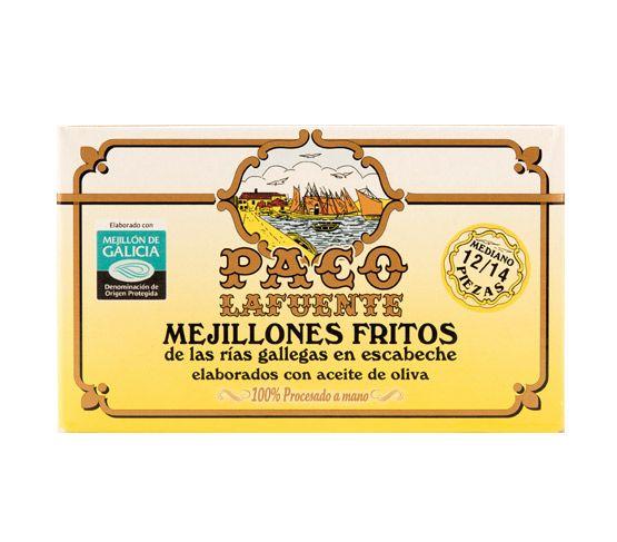 PACO LAFUENTE Mejillones fritos en escabeche R.G. 12/14 115g