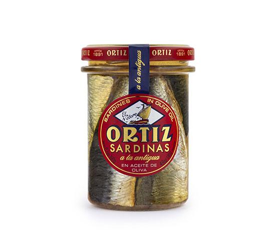CONSERVAS ORTIZ Sardinas Aceite de Oliva a La Antigua Cristal 190g