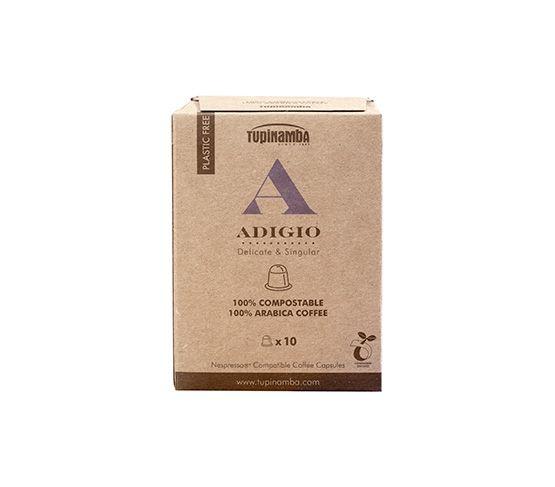 TUPINAMBA Adigio 10 Cápsulas Compostable Compatibles con Nespresso®