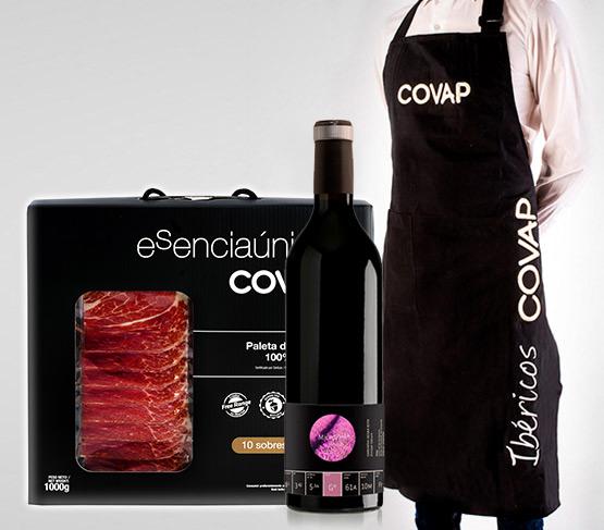 ESPECIAL COVAP VERANO 21 Paleta de Bellota 100% Ibérica (Caja 1kg) + Vino + Delantal