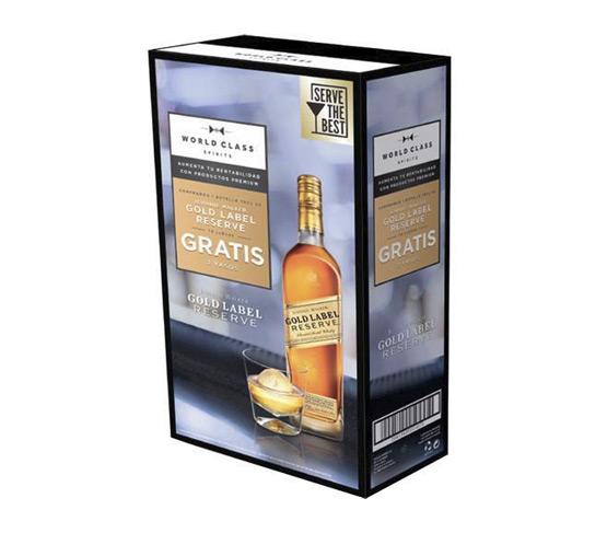 JOHNNIE WALKER Gold Label Whisky Escocés de Mezcla 70cl con 2 Vasos de Regalo